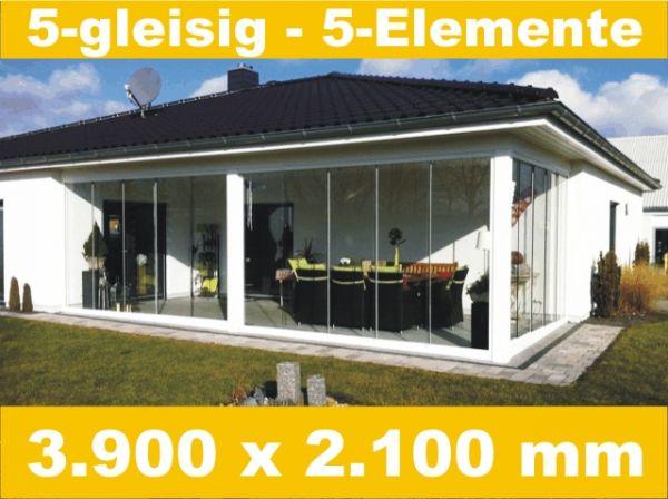 Glasschiebewand 5 - gleisig 3.900 x 2.100 mm