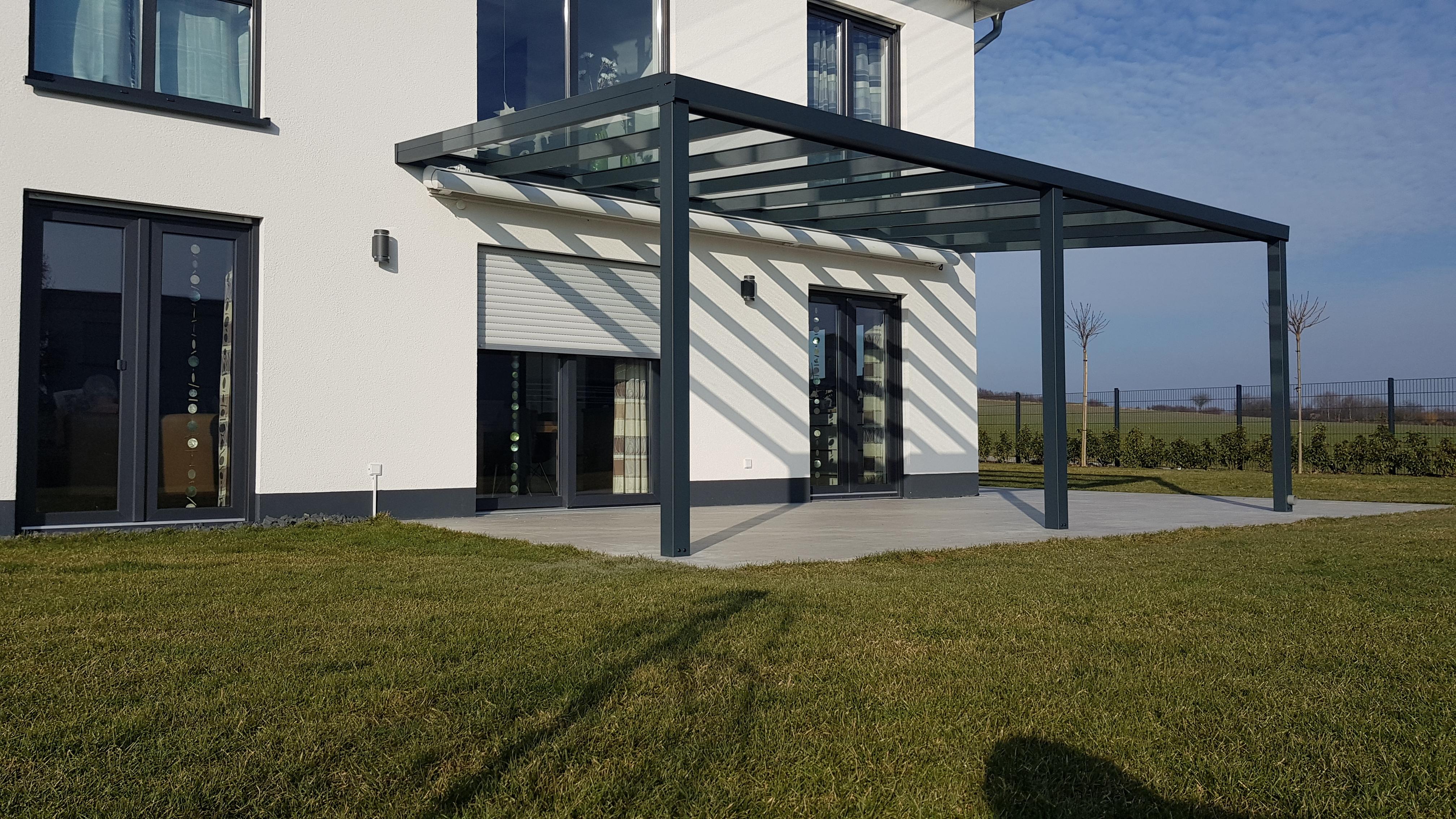 Terrassendach Aus Aluminium Mit Vsg Glas Kompl Neu ~ TerrassenÜberdachung carport aluminium terrassendach anthrazit vsg