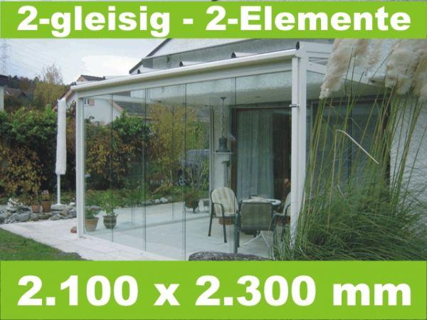 Glasschiebewand 2 - gleisig 2.100 x 2.300 mm