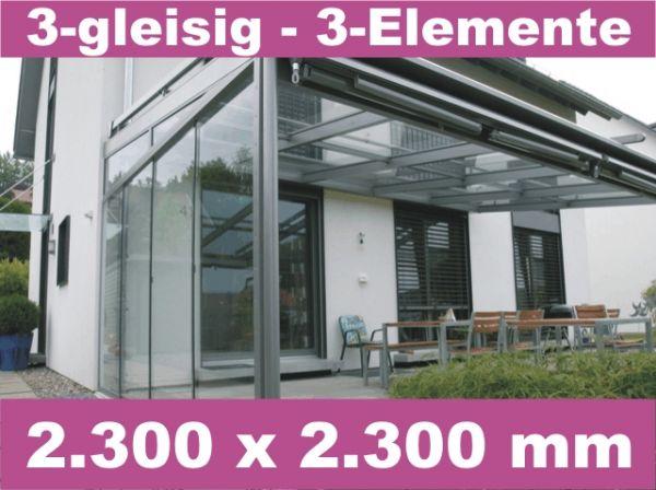 Glasschiebewand 3 - gleisig 2.300 x 2.300 mm