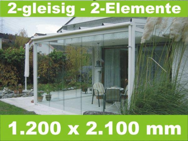 Glasschiebewand 2 - gleisig 1.200 x 2.100 mm