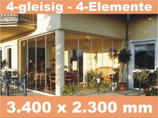 Glasschiebewand 4 - gleisig 3.400 x 2.300 mm