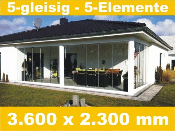 Glasschiebewand 5 - gleisig 3.600 x 2.300 mm