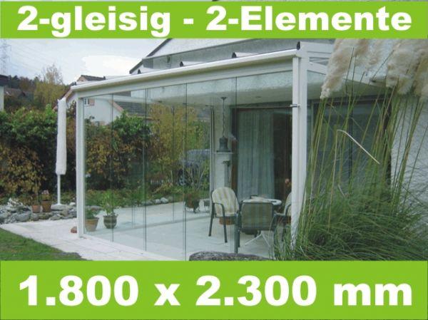 Glasschiebewand 2 - gleisig 1.800 x 2.300 mm