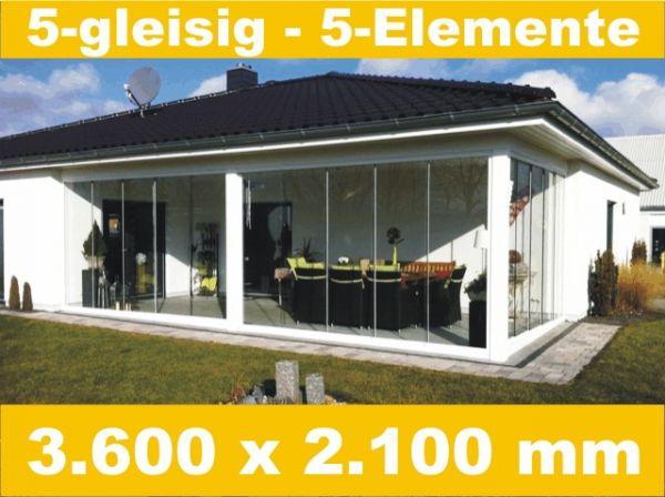 Glasschiebewand 5 - gleisig 3.600 x 2.100 mm