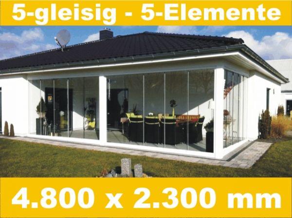 Glasschiebewand 5 - gleisig 4.800 x 2.300 mm