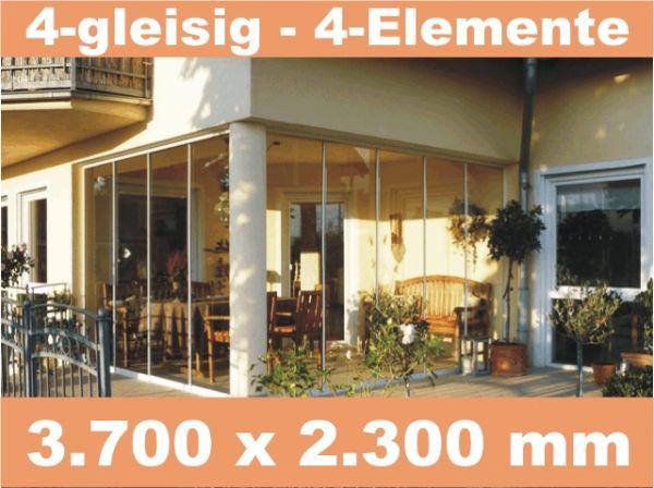Glasschiebewand 4 - gleisig 3.700 x 2.300 mm
