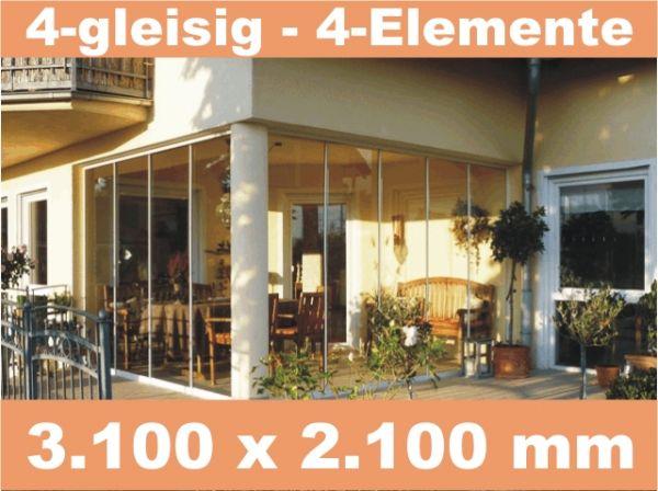 Glasschiebewand 4 - gleisig 3.100 x 2.100 mm