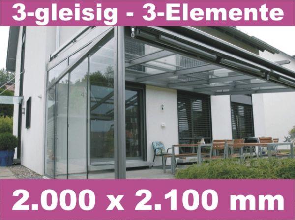 Glasschiebewand 3 - gleisig 2.000 x 2.100 mm